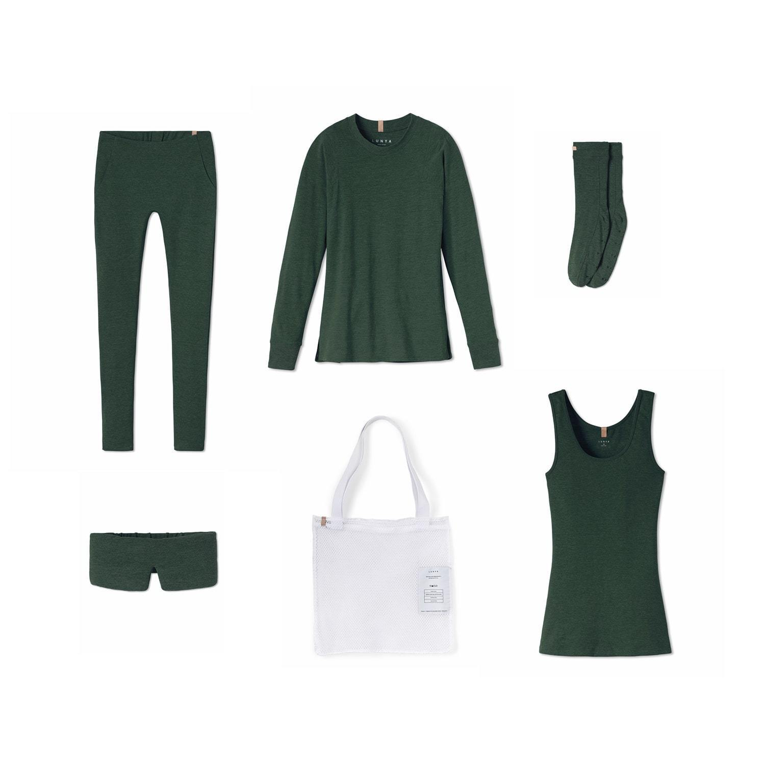 Lunya Sleepwear Restore Pima Travel Kit - #Emerald