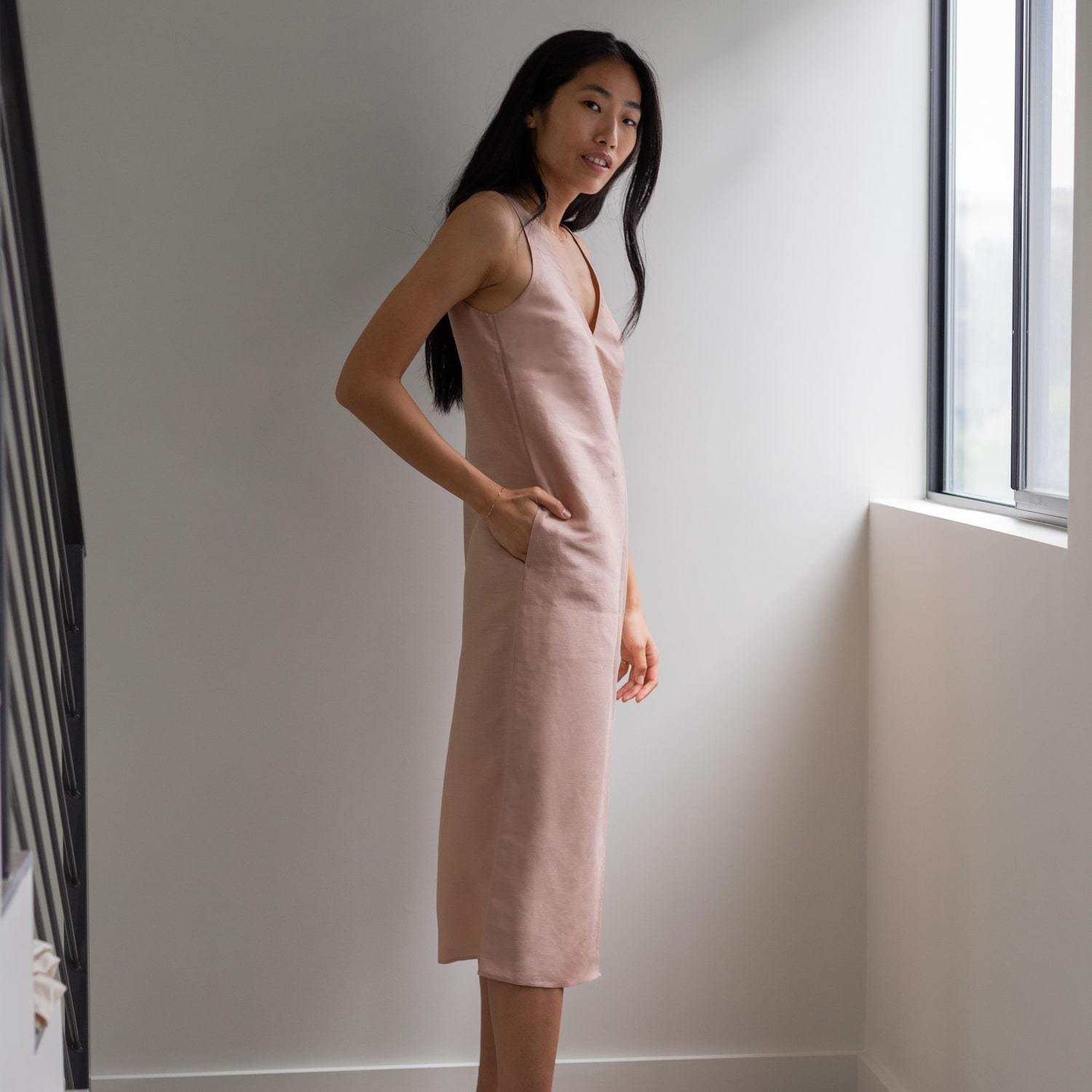 Lunya Sleepwear Resort Linen Silk Dress - #Bare