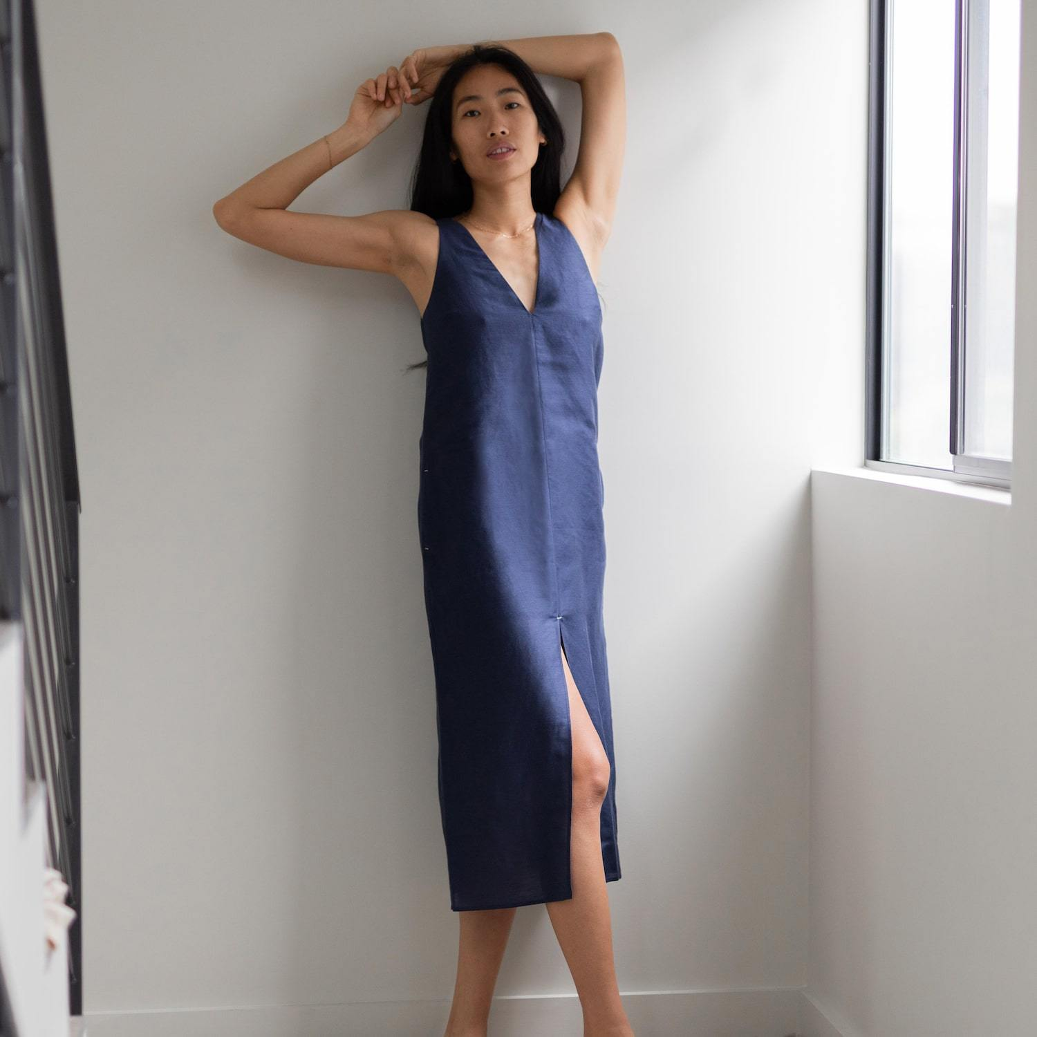 Lunya Sleepwear Resort Linen Silk Dress - #Deep Night