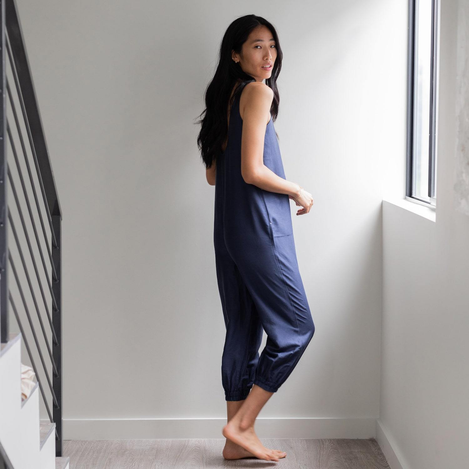 Lunya Sleepwear Resort Linen Silk Jumpsuit - #Deep Night