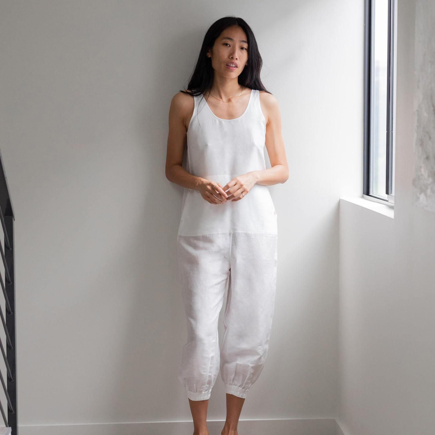 Lunya Sleepwear Resort Linen Silk Jumpsuit - #White
