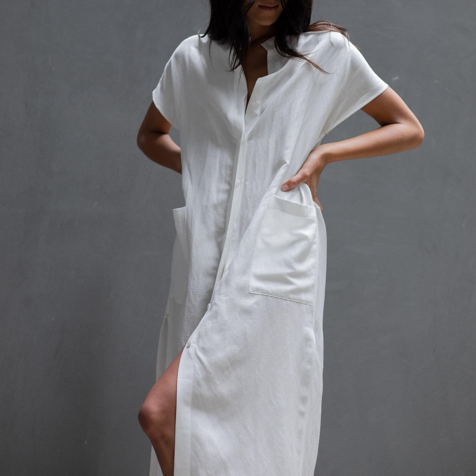 Lunya Sleepwear Resort Linen Silk Layering Dress - #White