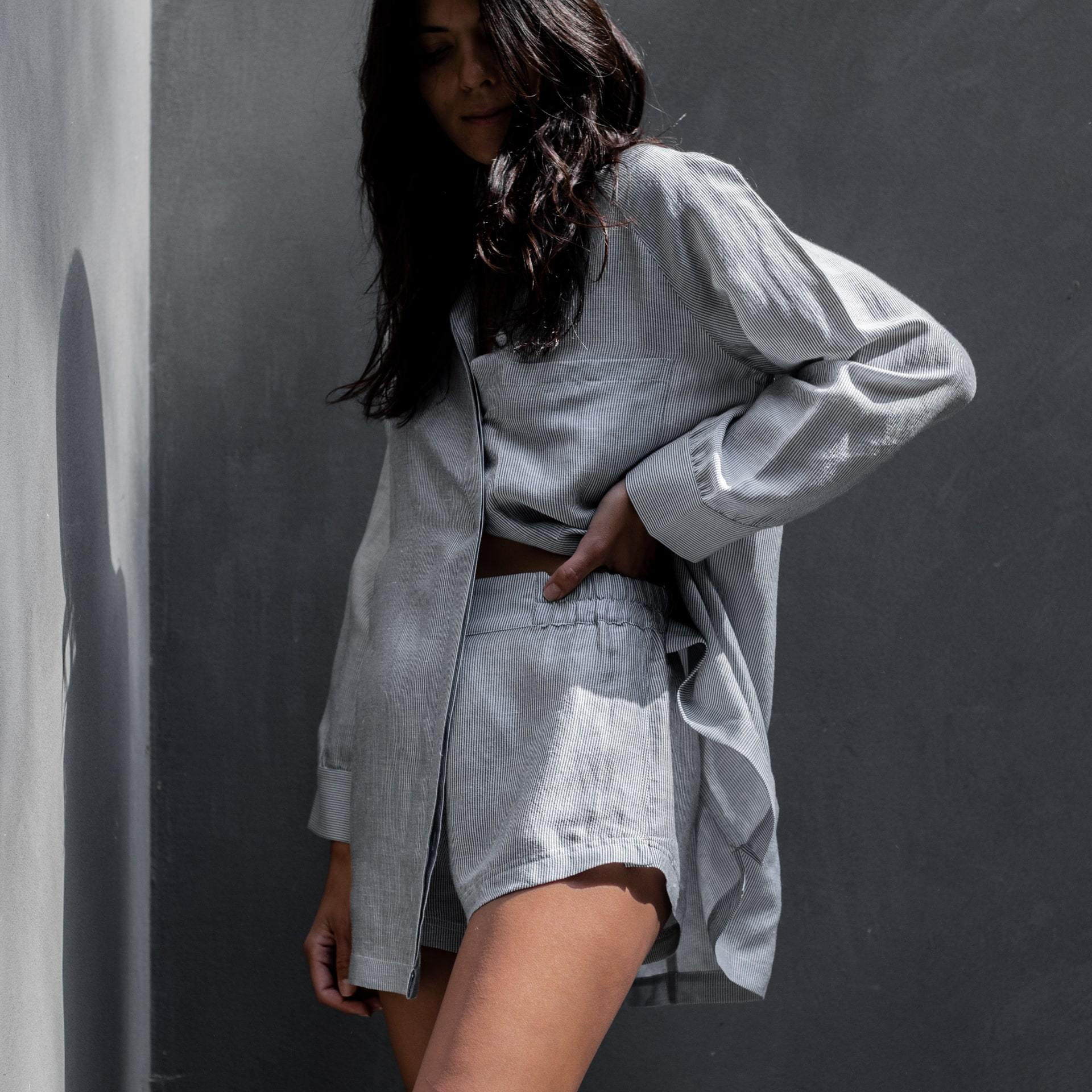 Lunya Sleepwear Resort Linen Silk Shirt Set - #Twilight Stripe