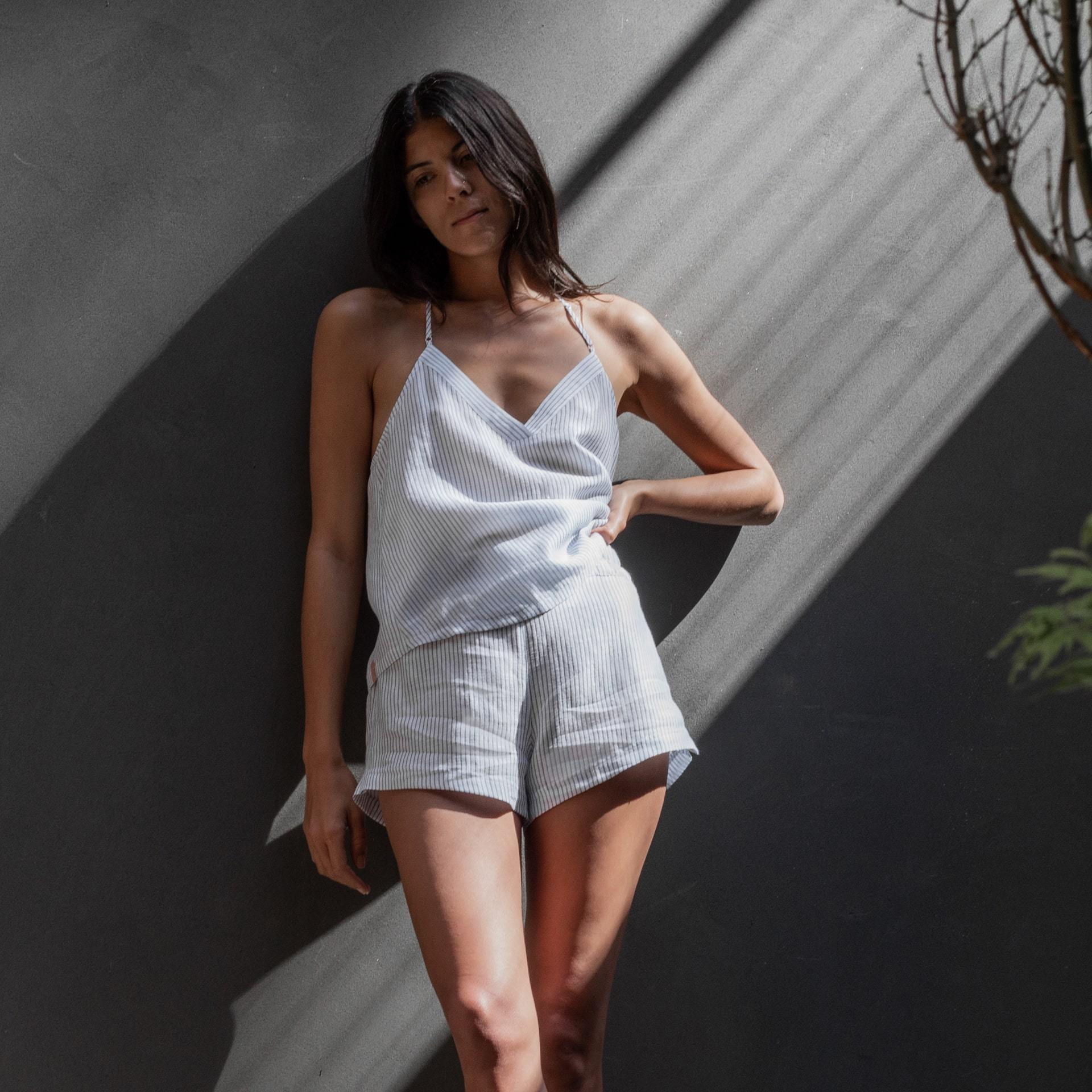 Lunya Sleepwear Resort Linen Silk Tank Set - #Horizon Stripe