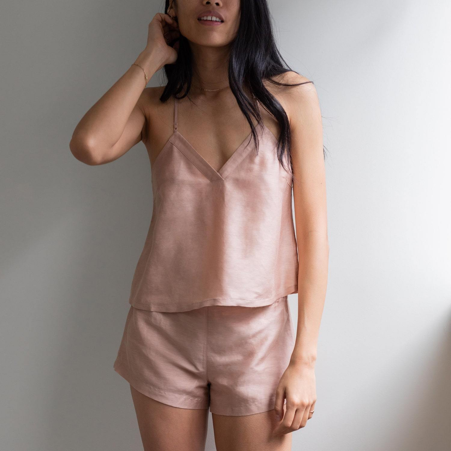 Lunya Sleepwear Resort Linen Silk Tank Set - #Bare