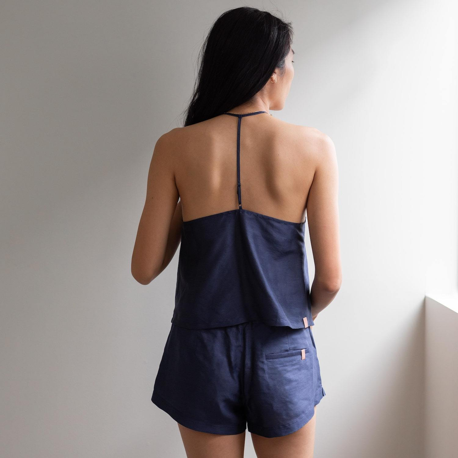 Lunya Sleepwear Resort Linen Silk Tank Set - #Deep Night