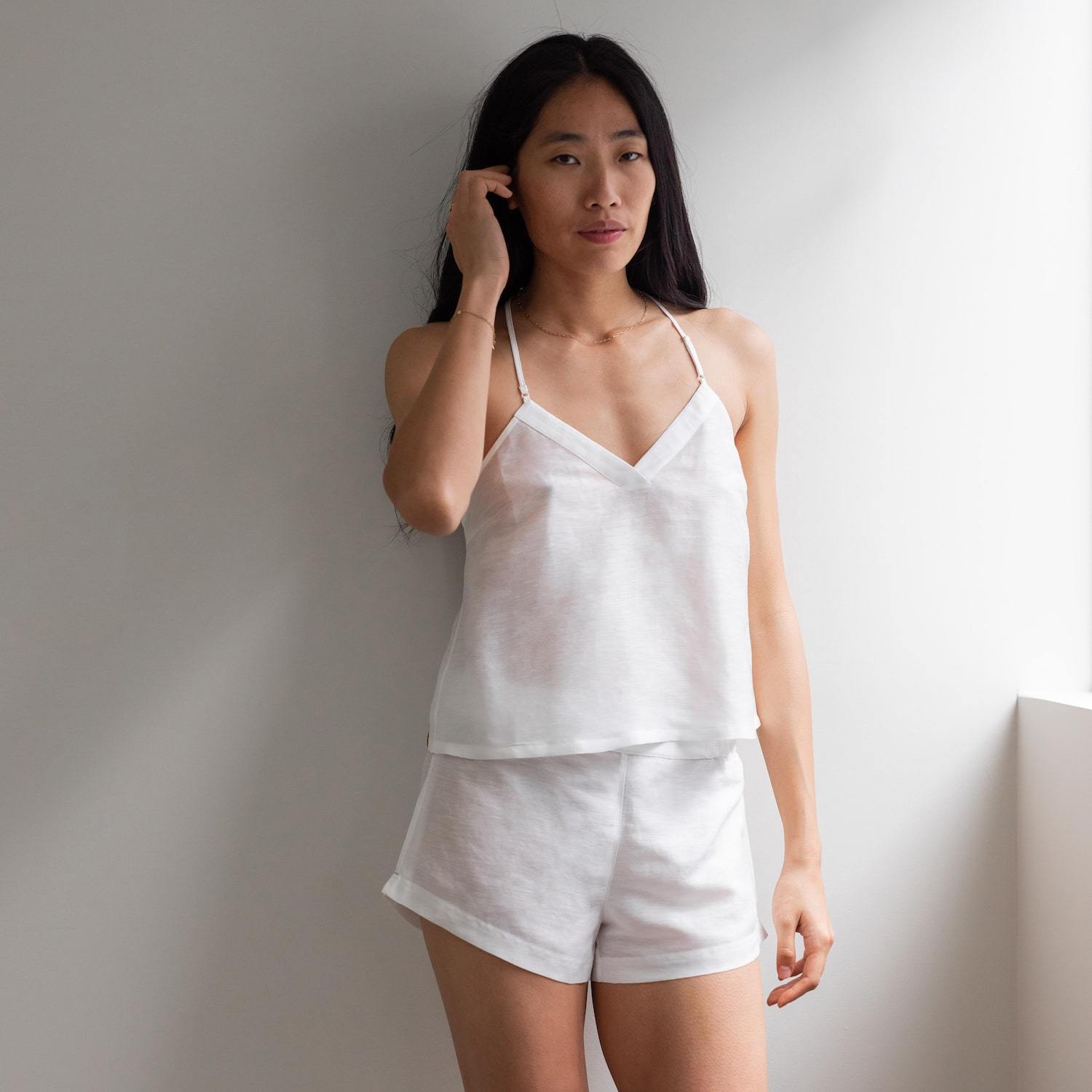 Lunya Sleepwear Resort Linen Silk Tank Set - #White
