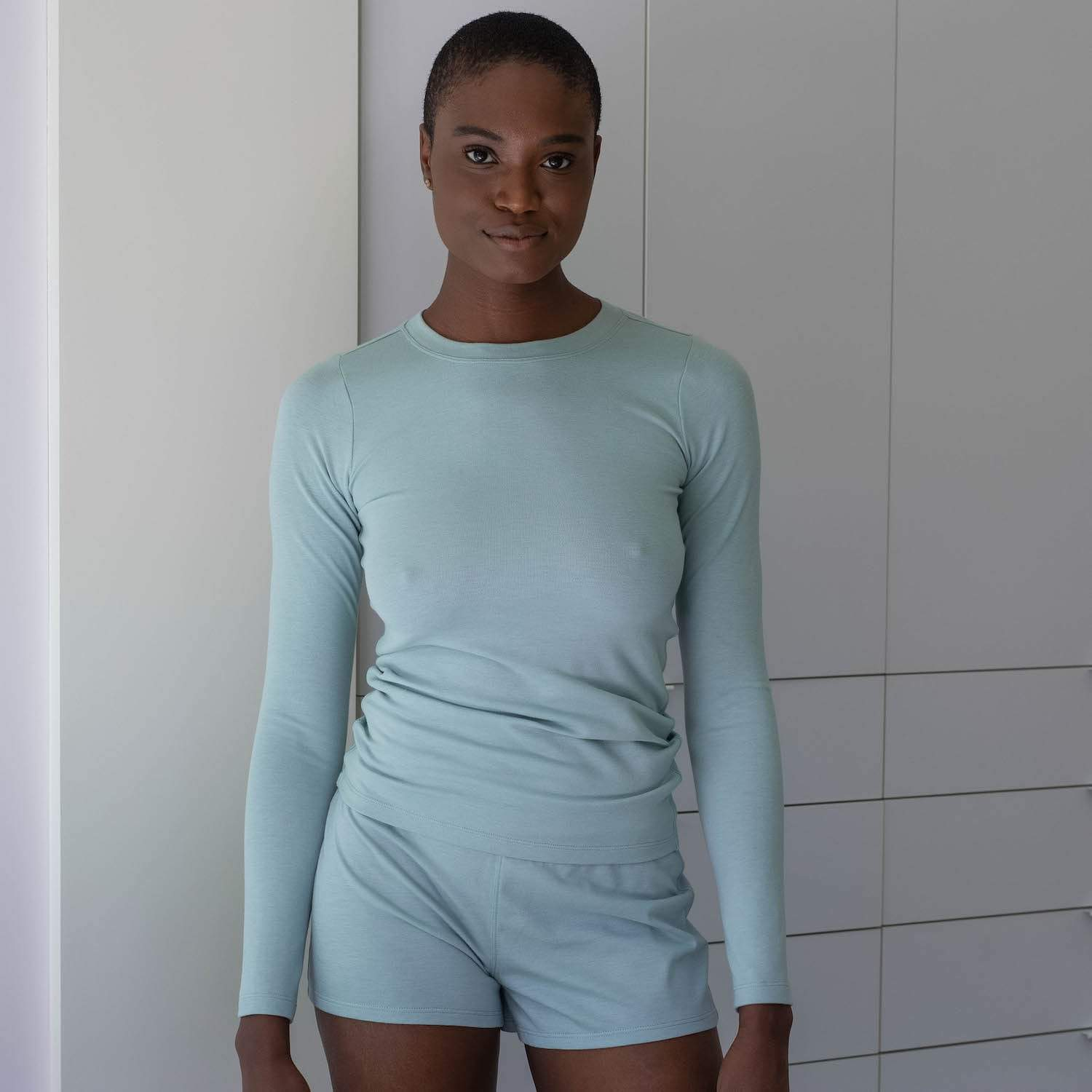 Lunya Sleepwear Restore Pima Base Long Sleeve Tee - #Aloe
