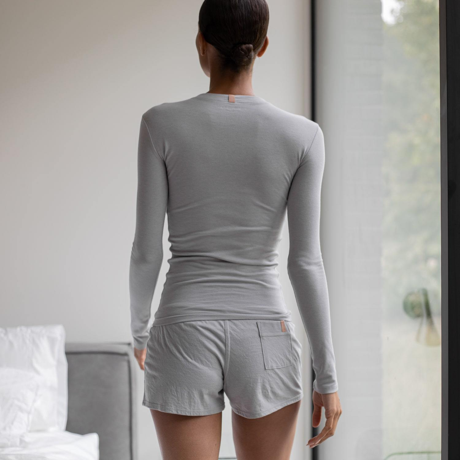 Lunya Sleepwear Restore Pima Base Long Sleeve Tee - #Moonstone