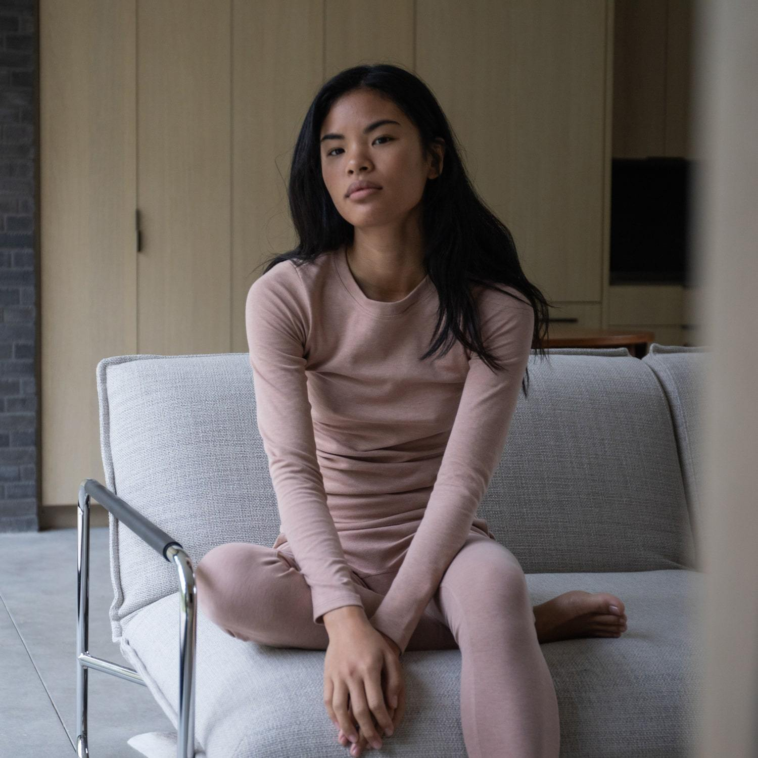 Lunya Sleepwear Restore Pima Base Long Sleeve Tee - #Bare/Otium Tan