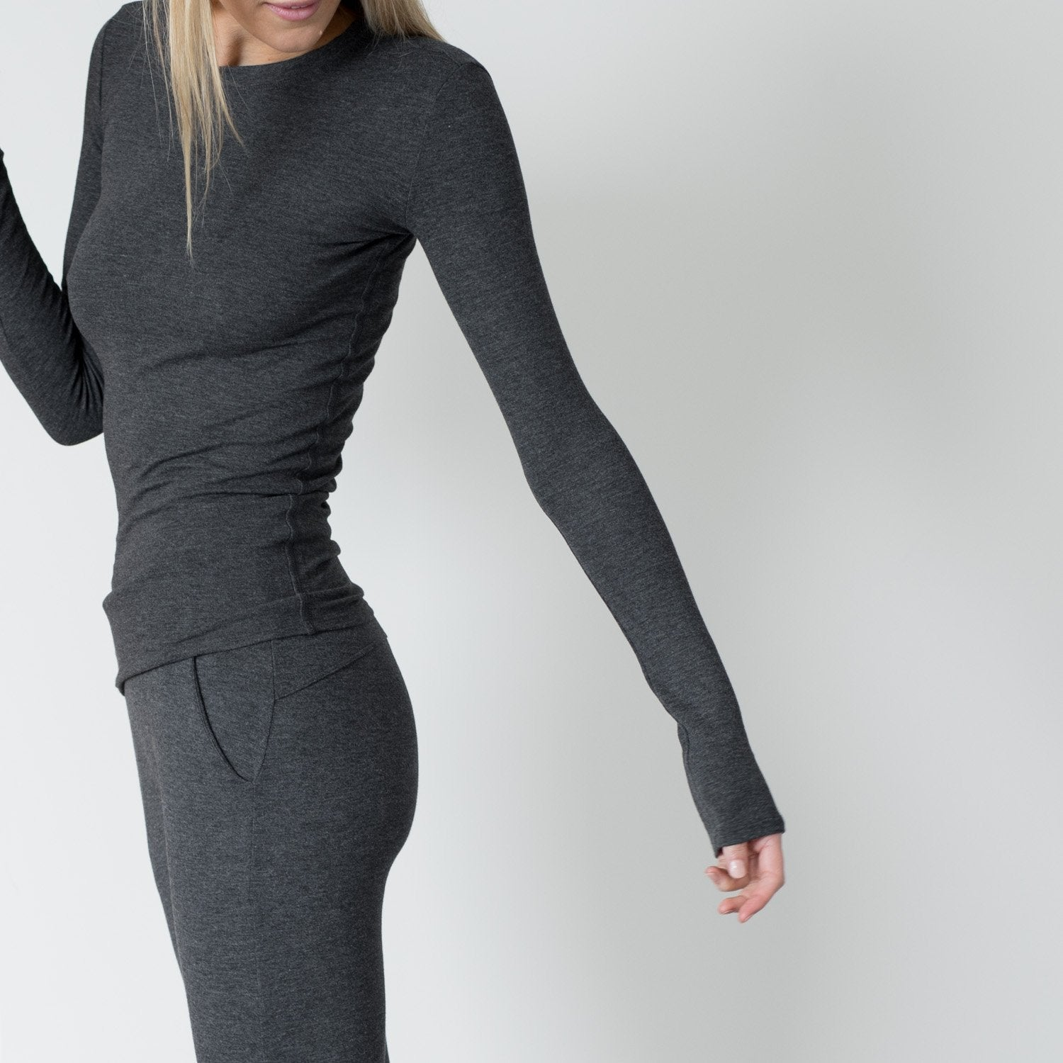 Lunya Sleepwear Restore Pima Base Long Sleeve Tee - #Charcoal