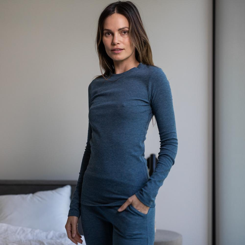 Lunya Sleepwear Restore Pima Base Long Sleeve Tee - #Nova
