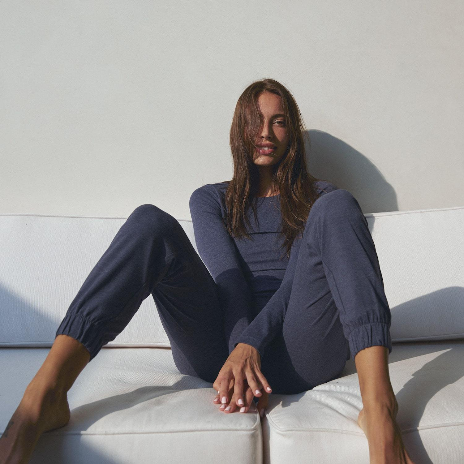 Lunya Sleepwear Restore Pima Draped Jogger - #Deep Night