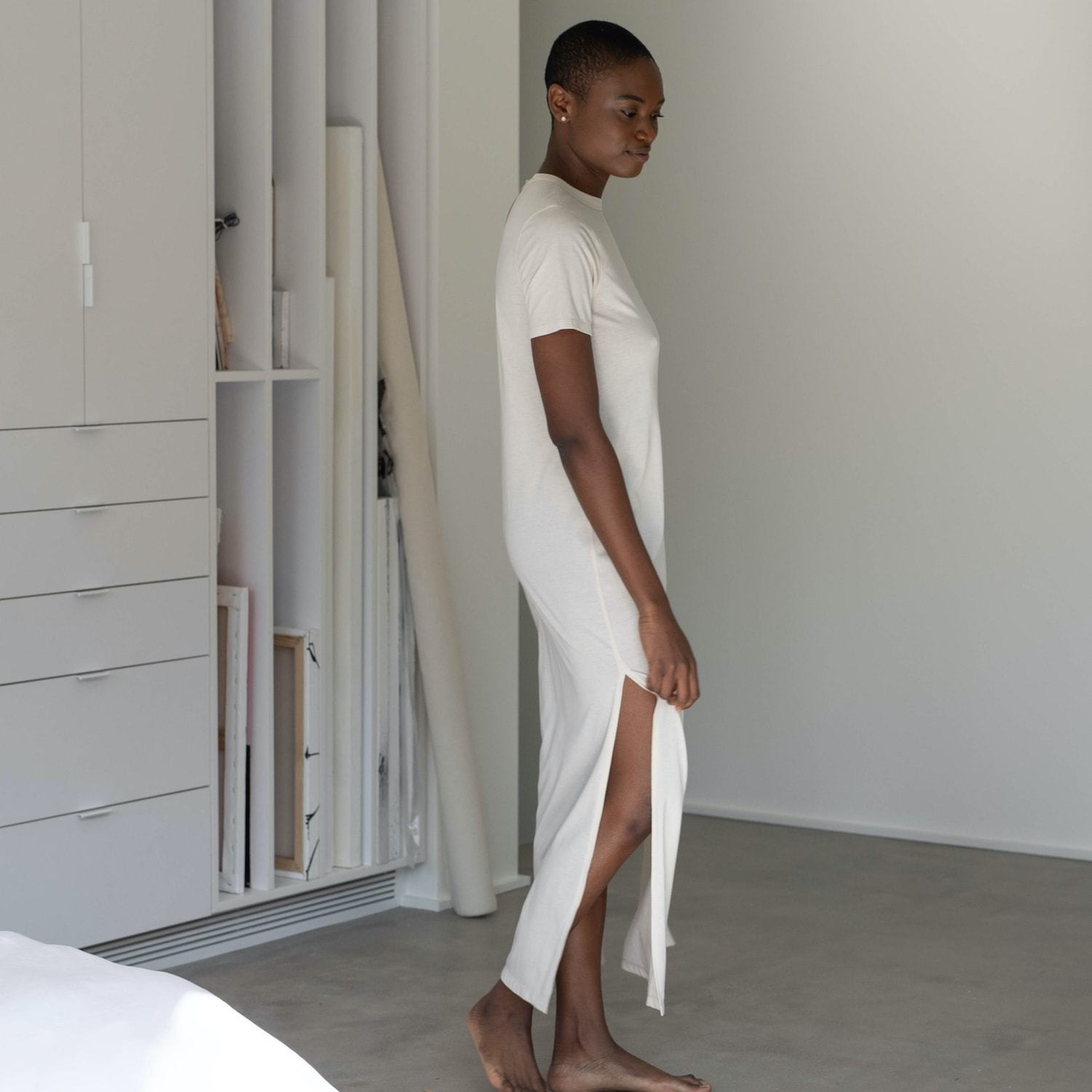 Lunya Sleepwear Restore Pima Long Dress - #Latte