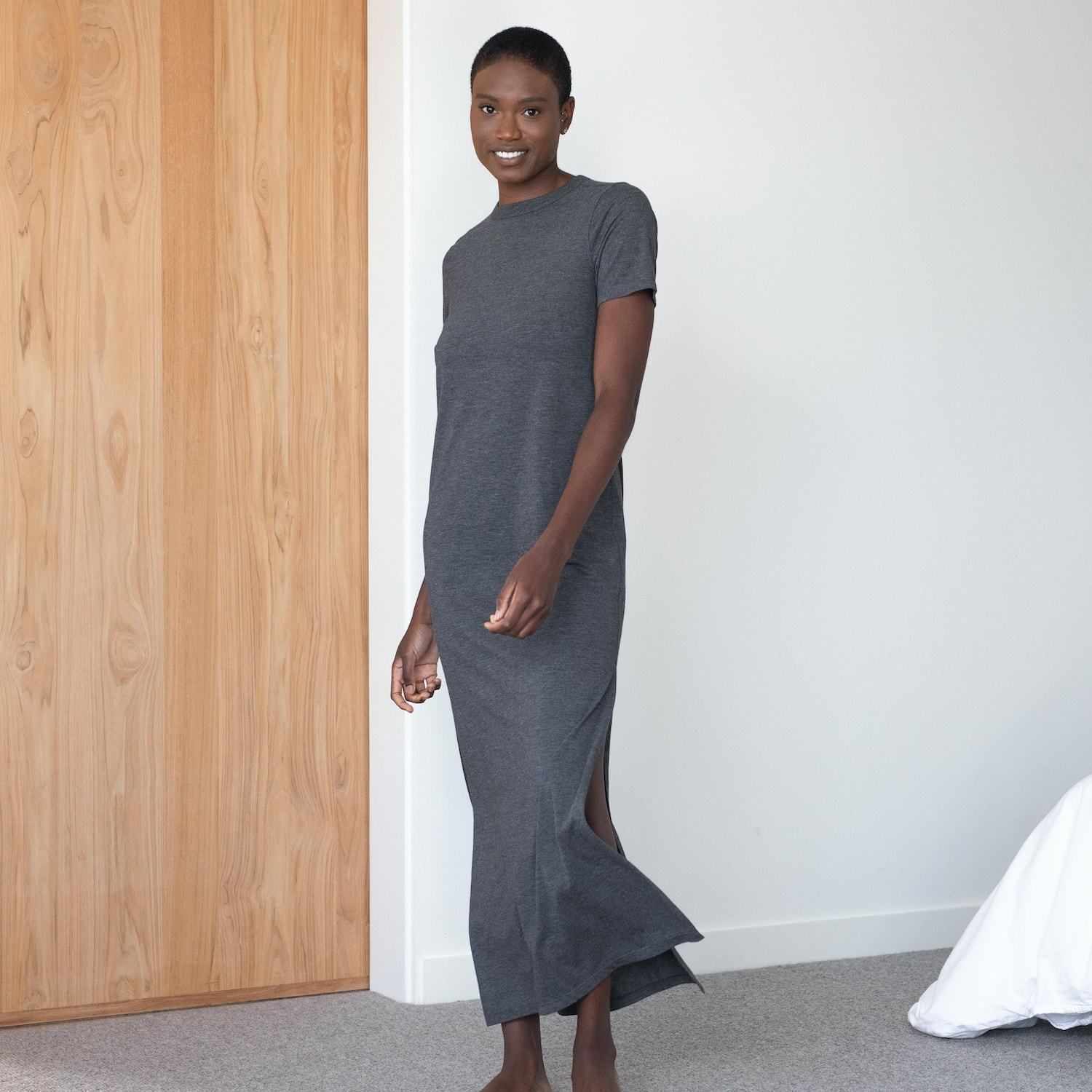 Lunya Sleepwear Restore Pima Long Dress - #Charcoal