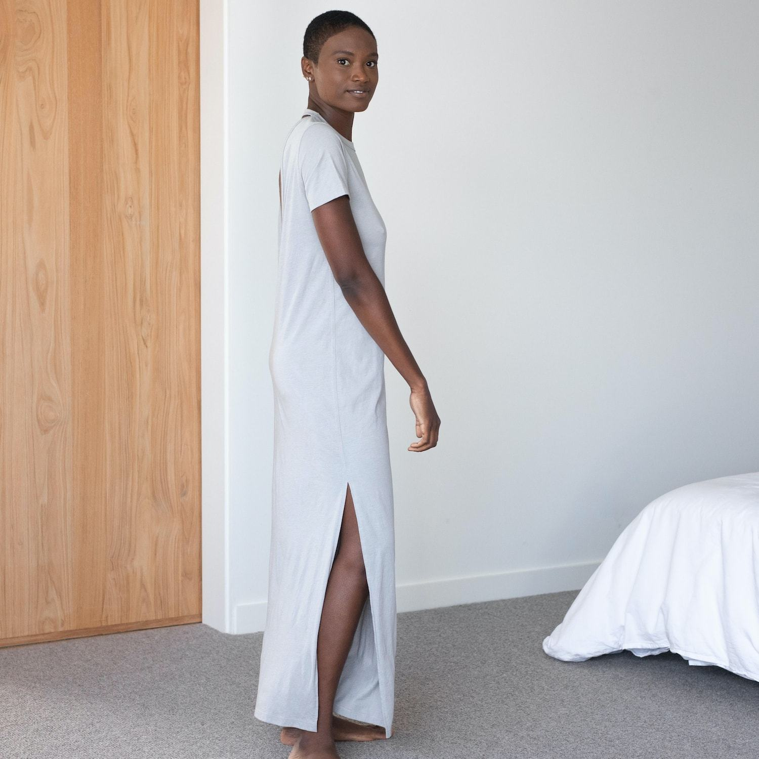 Lunya Sleepwear Restore Pima Long Dress - #Moonstone