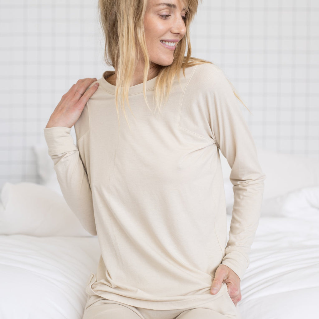 Lunya Sleepwear Restore Long Sleeve Crew - #Latte