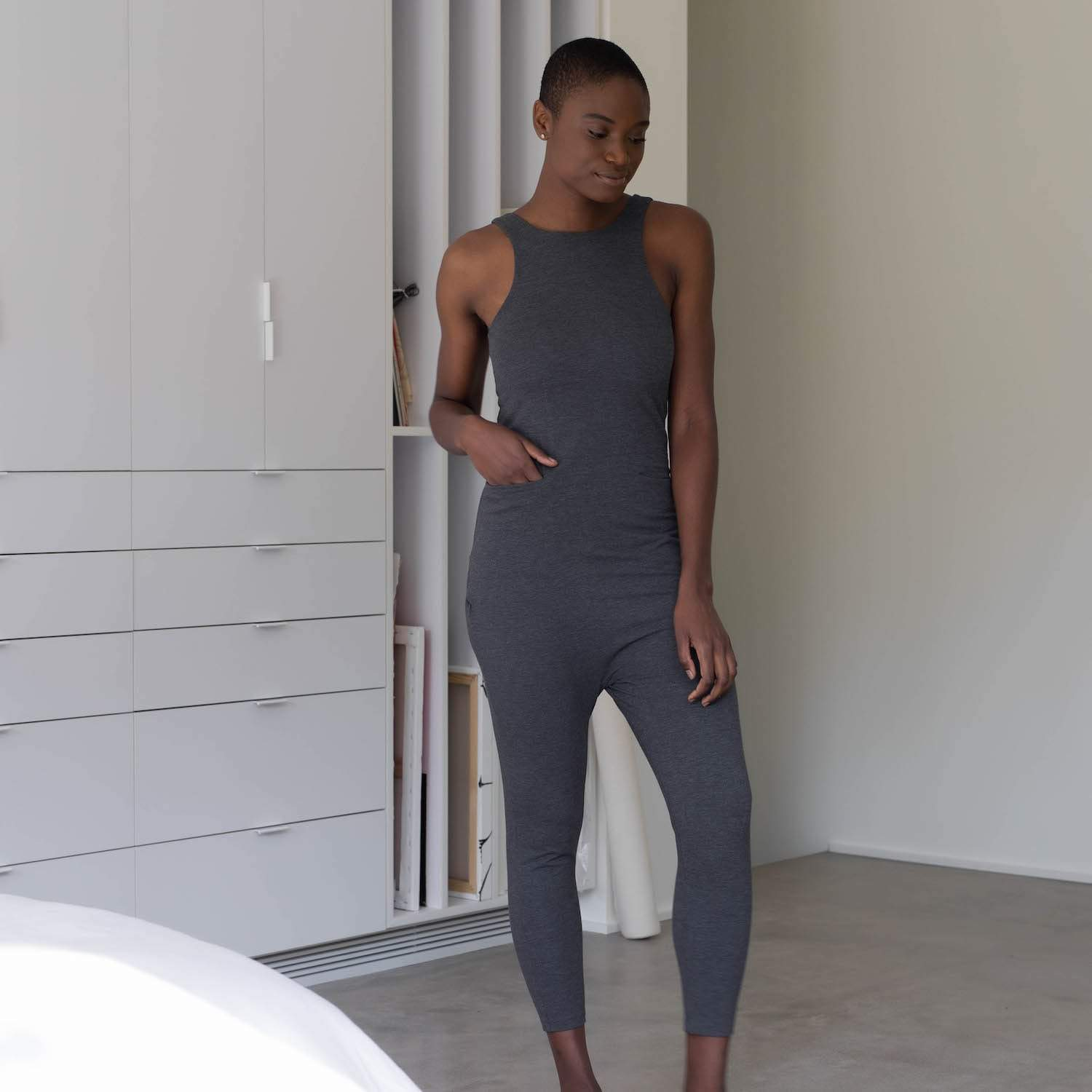 Lunya Sleepwear Restore Pocket Jumpsuit - #Charcoal