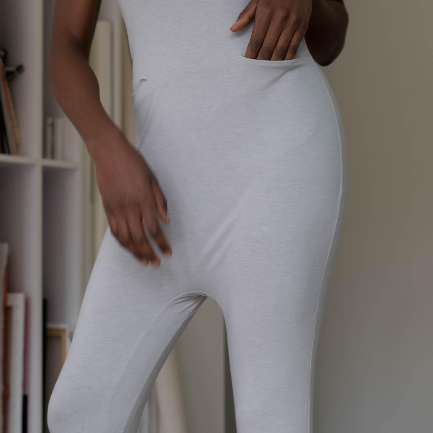 Lunya Sleepwear Restore Pocket Jumpsuit - #Ambient Grey Heather