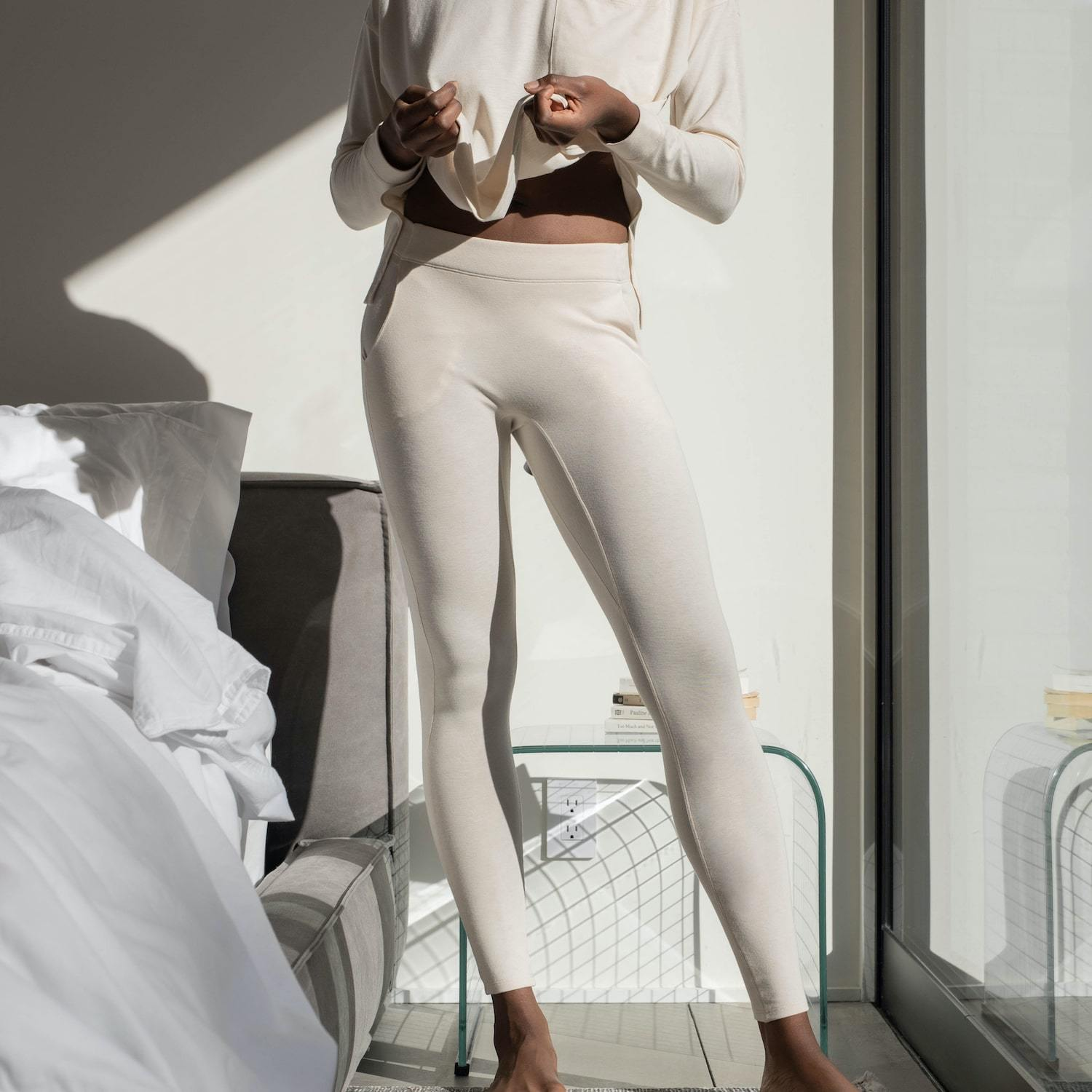 Lunya Sleepwear Restore Pima Pocket Legging - #Latte