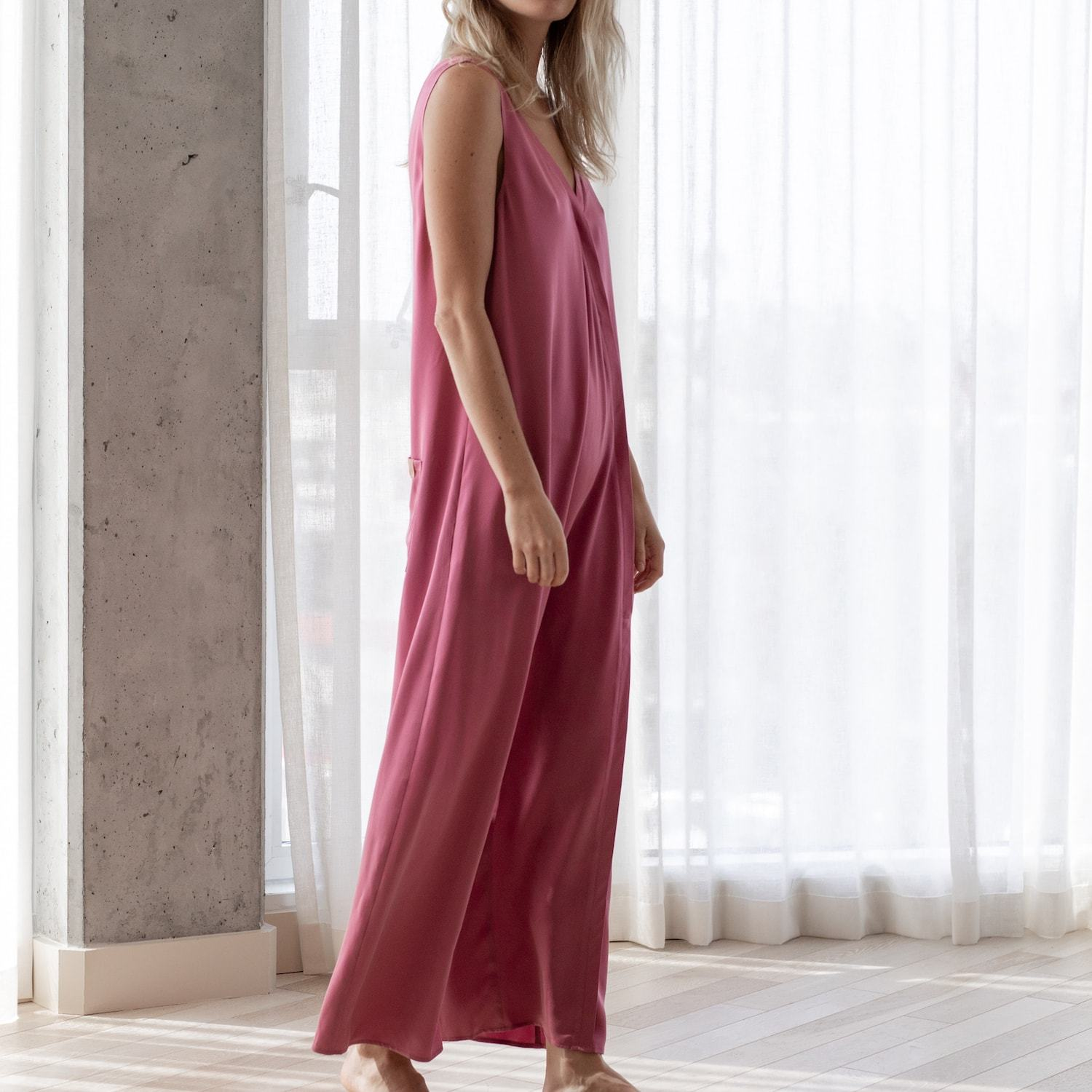 Lunya Sleepwear Washable Silk Double V Jumpsuit - #Rouge