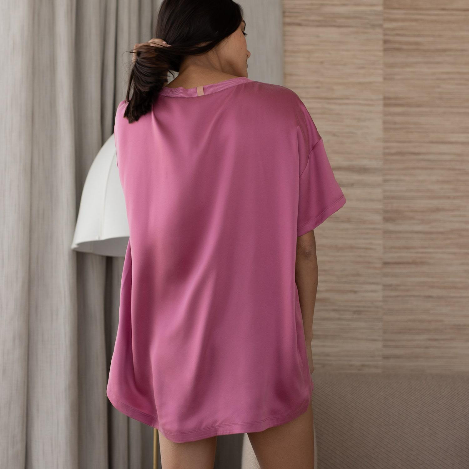Lunya Sleepwear Washable Silk Tee Set - #Rouge