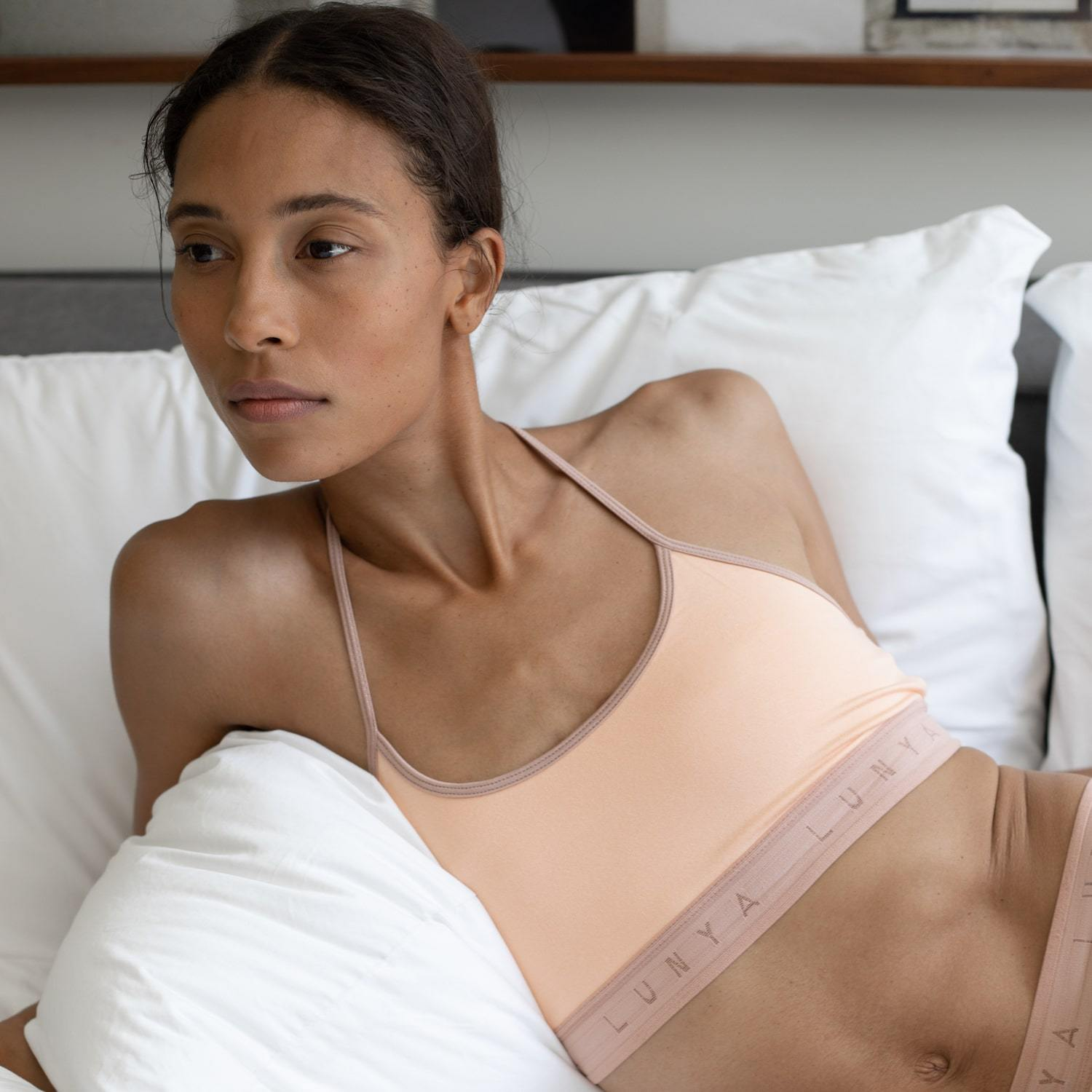 Lunya Sleepwear Supportive Modal Sleep Bralette - #Nectar/Bare