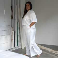 Lunya Sleepwear Washable Silk Button Down Pant Set - #Tranquil White - Size:XL2,XL3@back