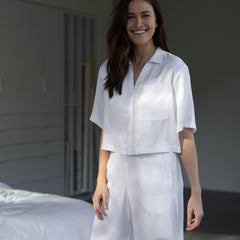 Lunya Sleepwear Washable Silk Button Down Pant Set - #Tranquil White