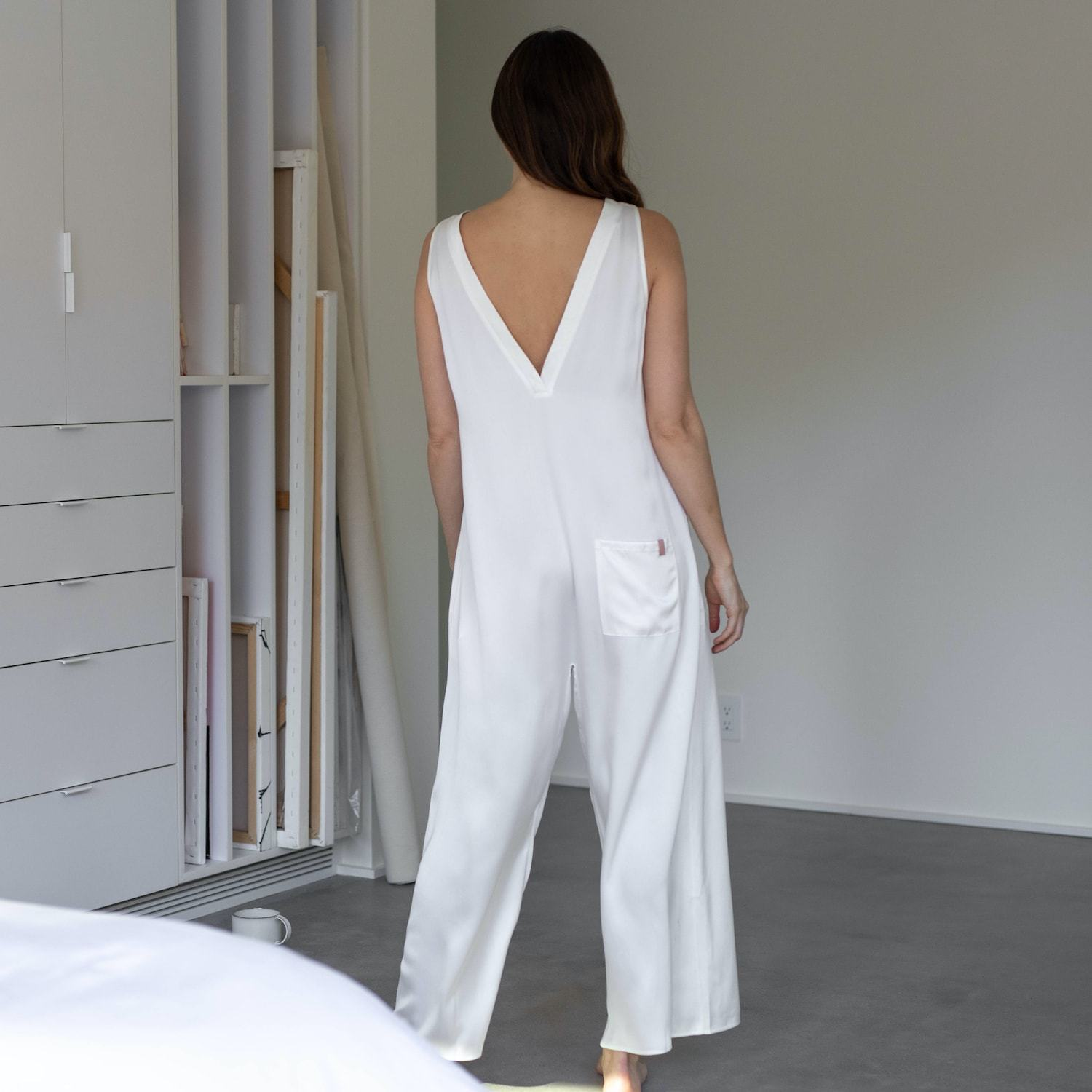 Lunya Sleepwear Washable Silk Double V Jumpsuit - #Washed Starlight
