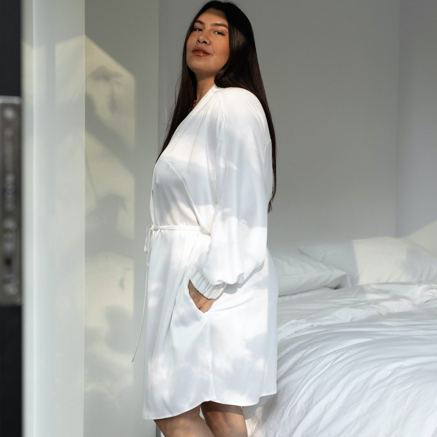 Lunya Sleepwear Washable Silk Robe - #Washed Starlight - Size:XL2/XL3@back