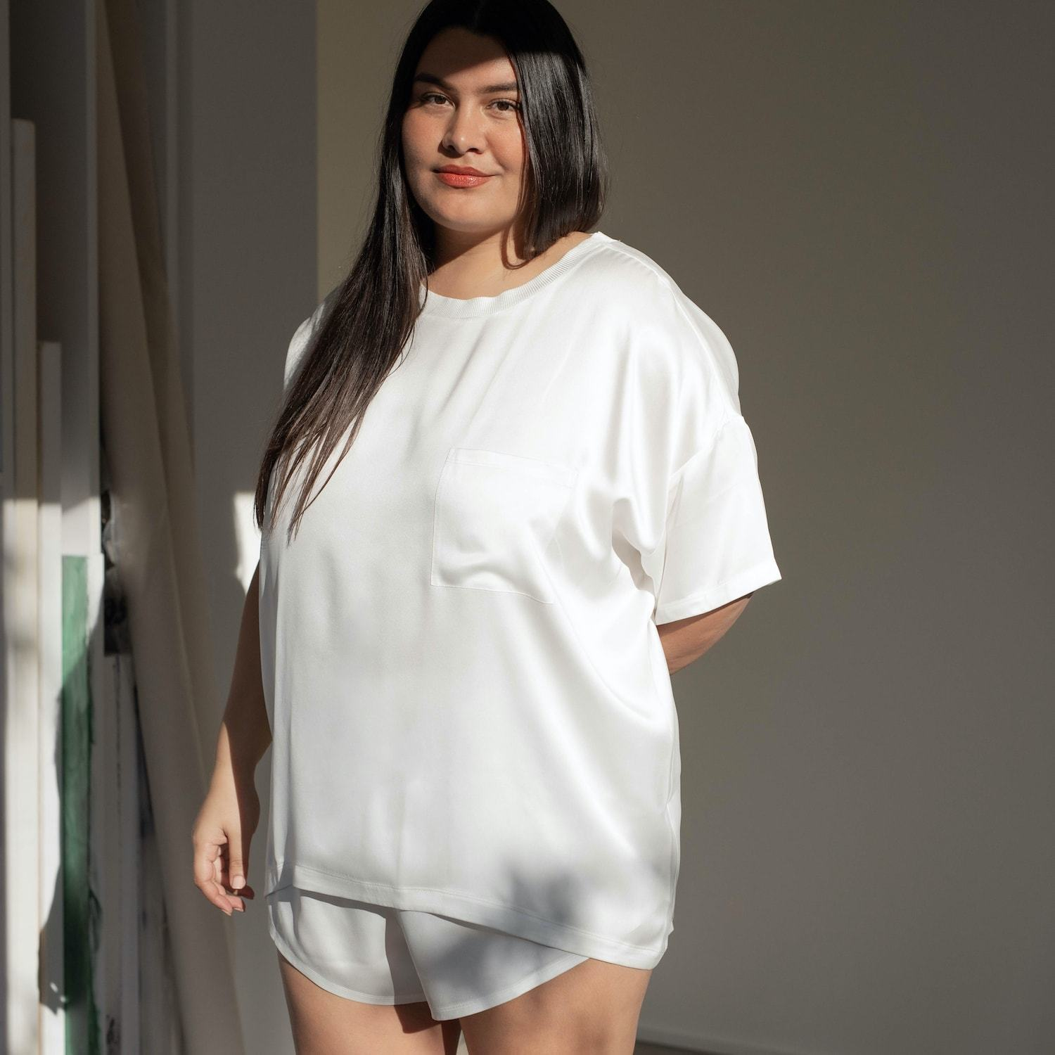 Lunya Sleepwear Washable Silk Tee Set - #Starlight - Size:XL2,XL3@back