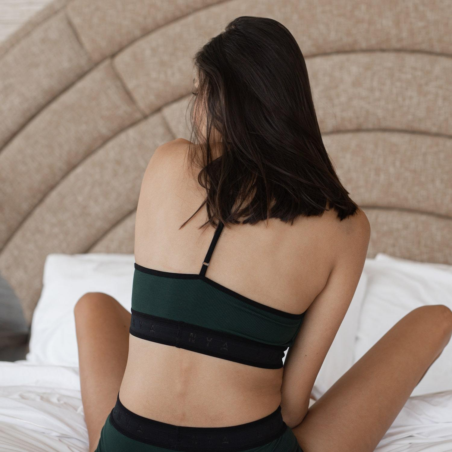 Lunya Sleepwear Supportive Modal Sleep Bralette - #Emerald/Black