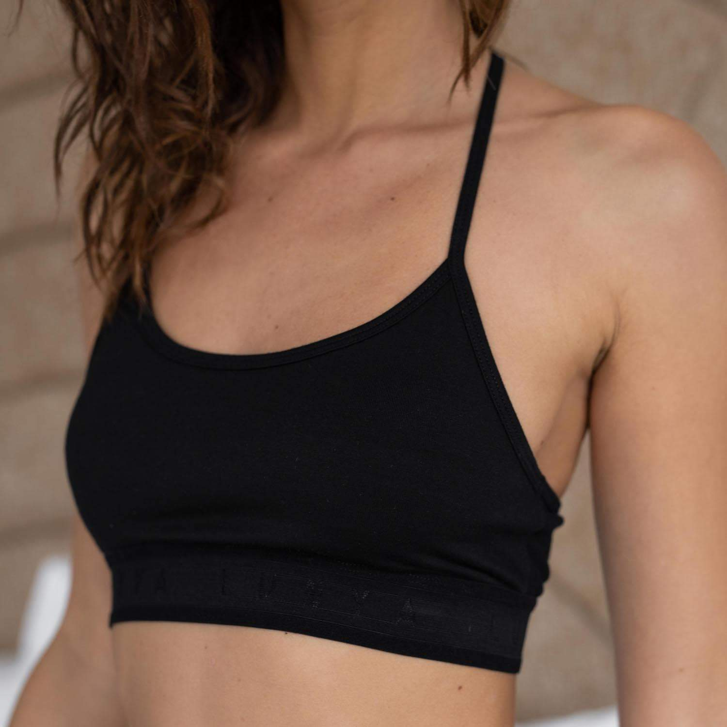 Lunya Sleepwear Supportive Modal Sleep Bralette - #Black/Black