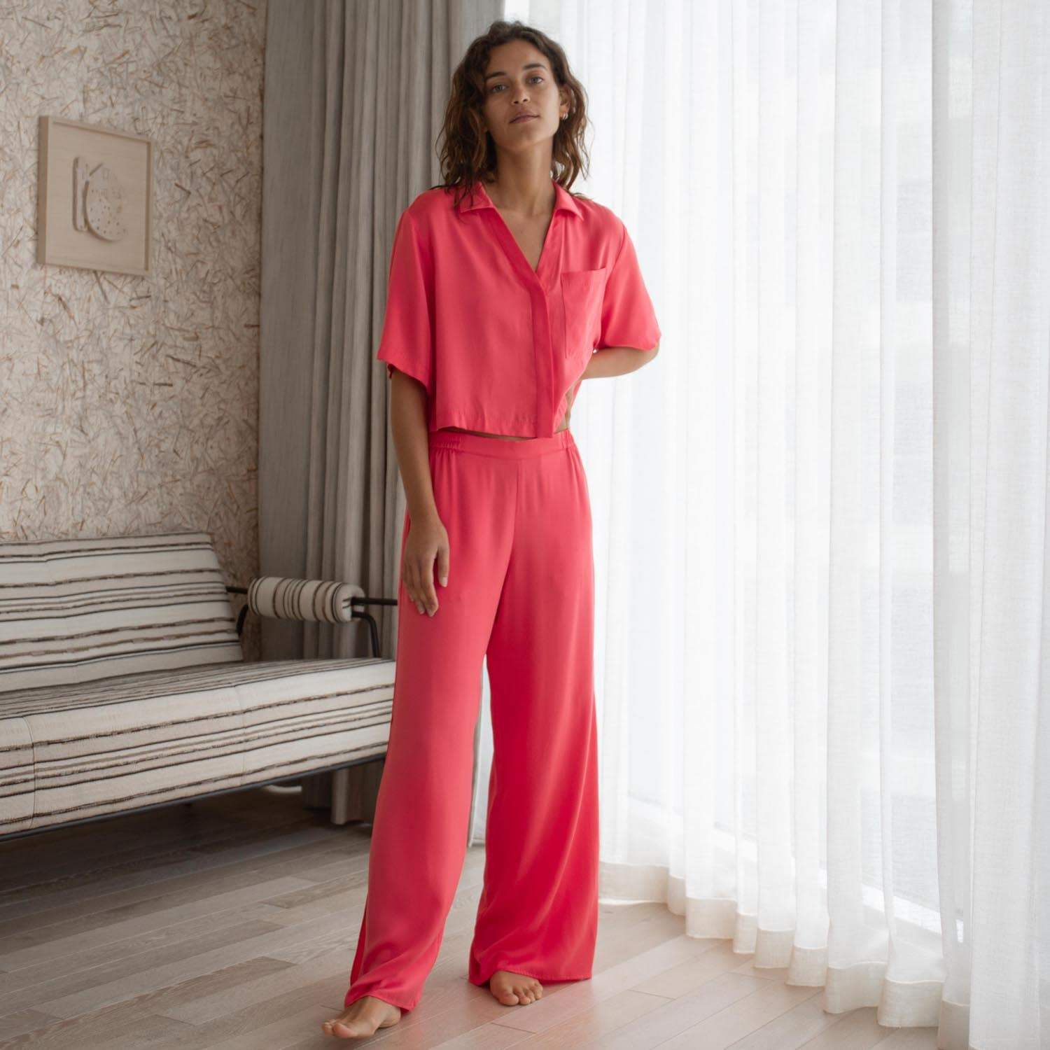 Lunya Sleepwear Washable Silk Button Down Pant Set - #Stellar - Size:XL2,XL3@back