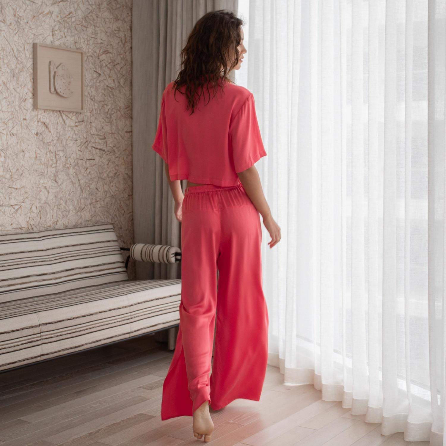 Lunya Sleepwear Washable Silk Button Down Pant Set - #Stellar