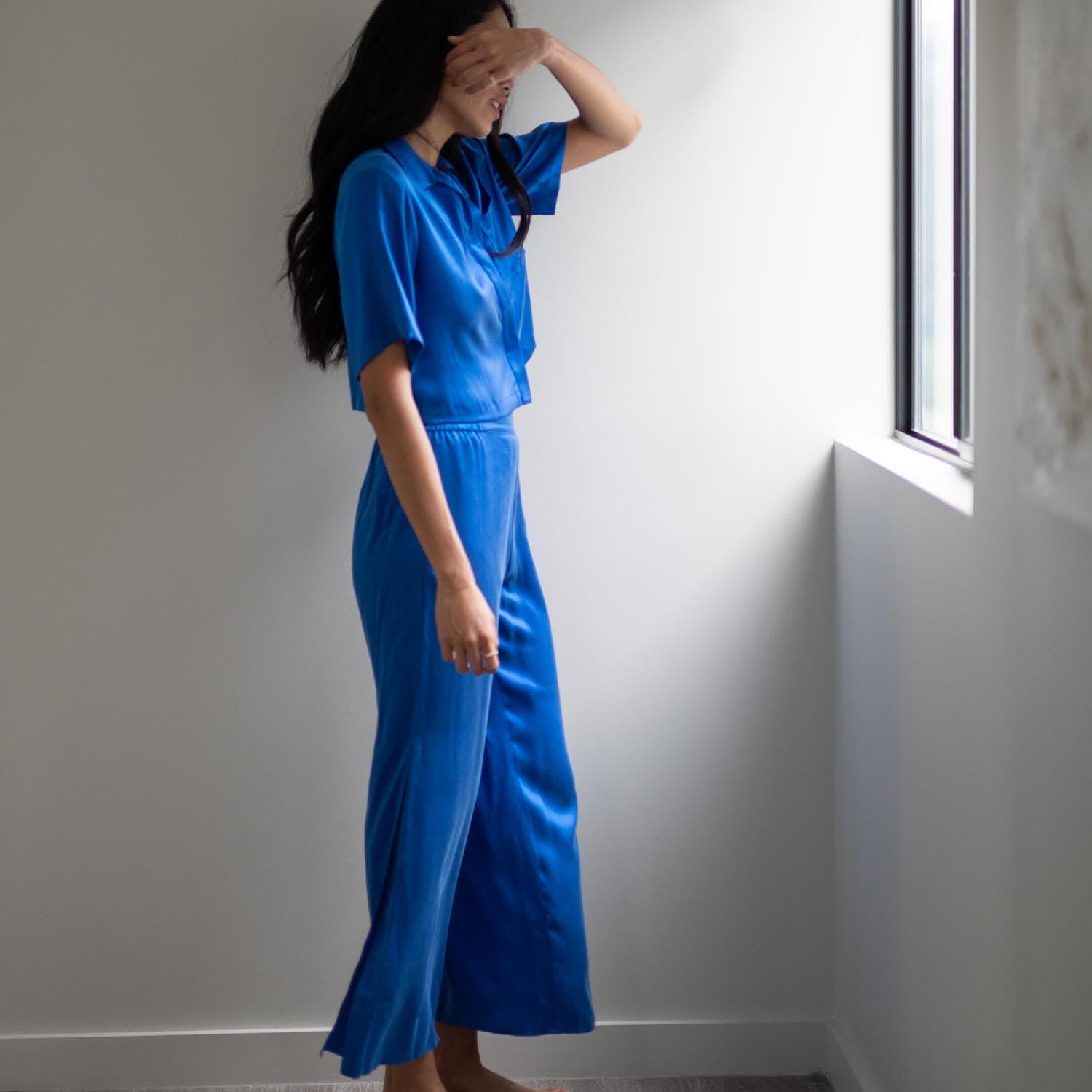 Lunya Sleepwear Washable Silk Button Down Pant Set - #Stratus