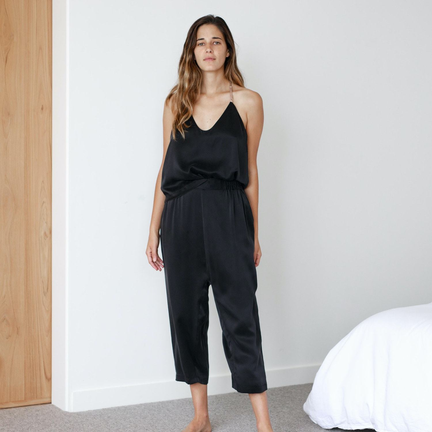 Lunya Sleepwear Washable Silk Cami Harem Pant Set- #Black/Bare