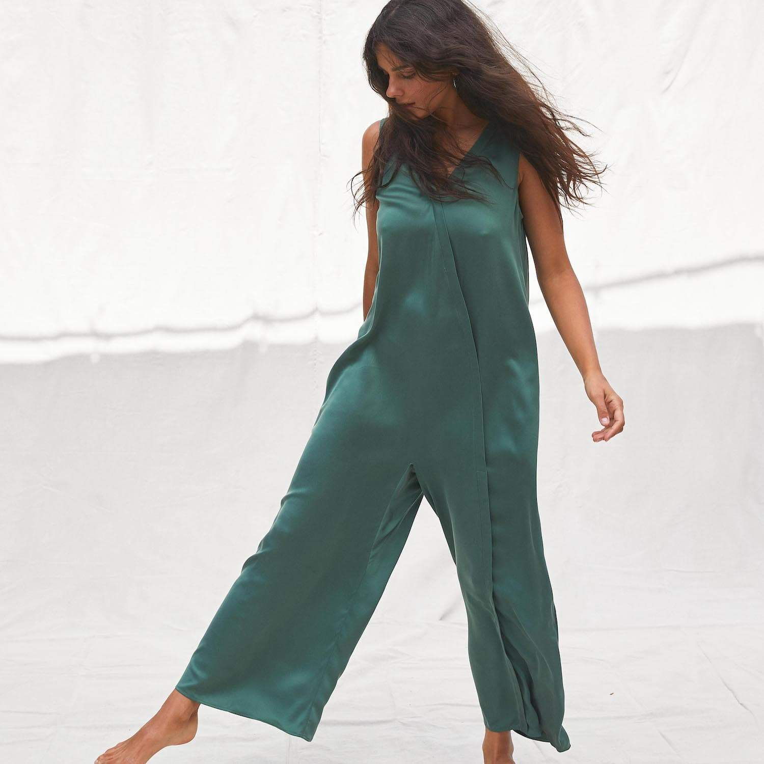 Lunya Sleepwear Washable Silk Double V Jumpsuit - #Myrtle