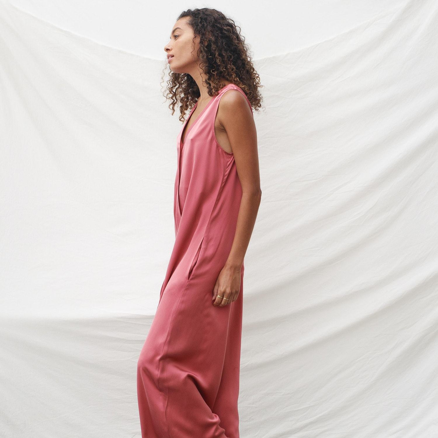 Lunya Sleepwear Washable Silk Double V Jumpsuit - #Rose Petal
