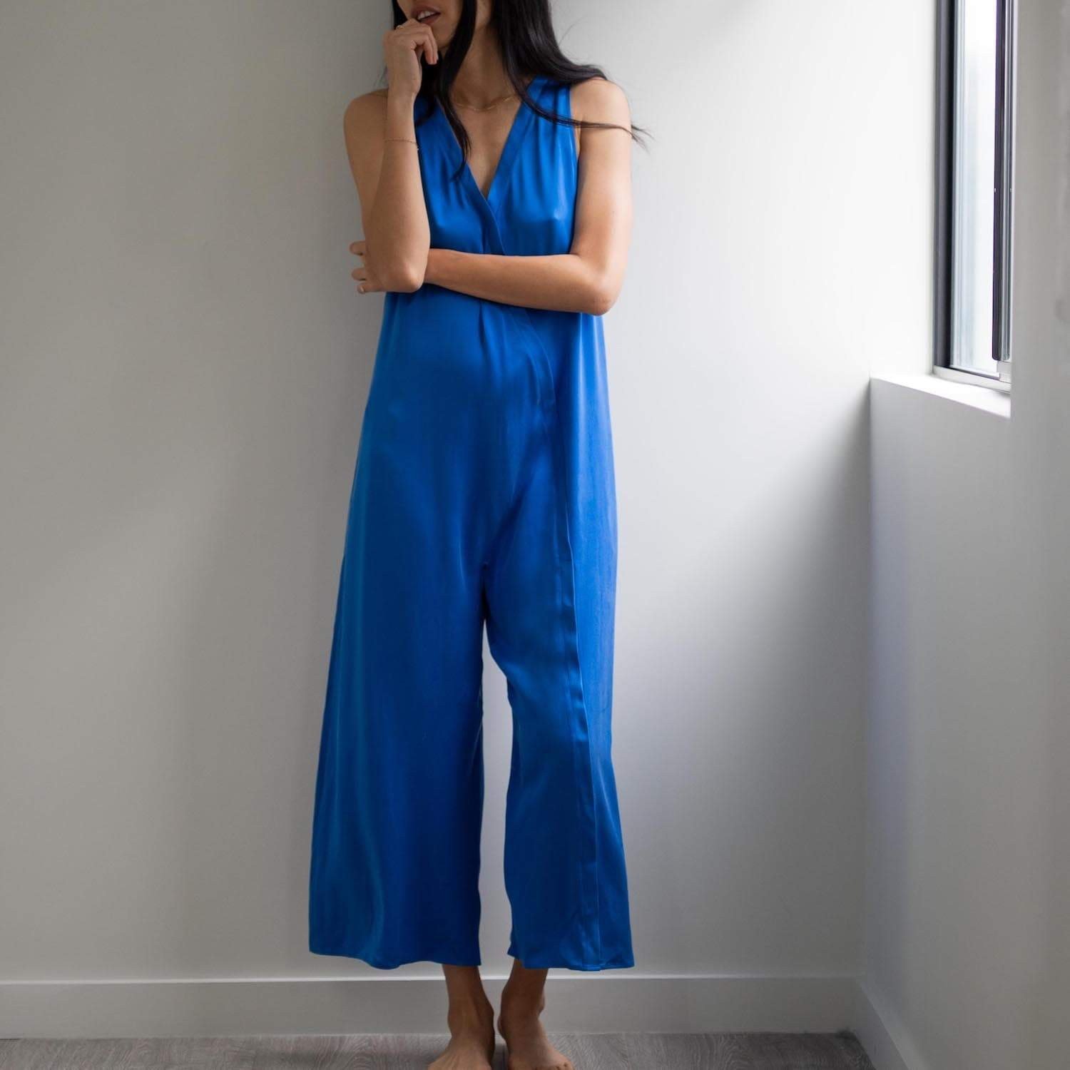 Lunya Sleepwear Washable Silk Double V Jumpsuit - #Stratus
