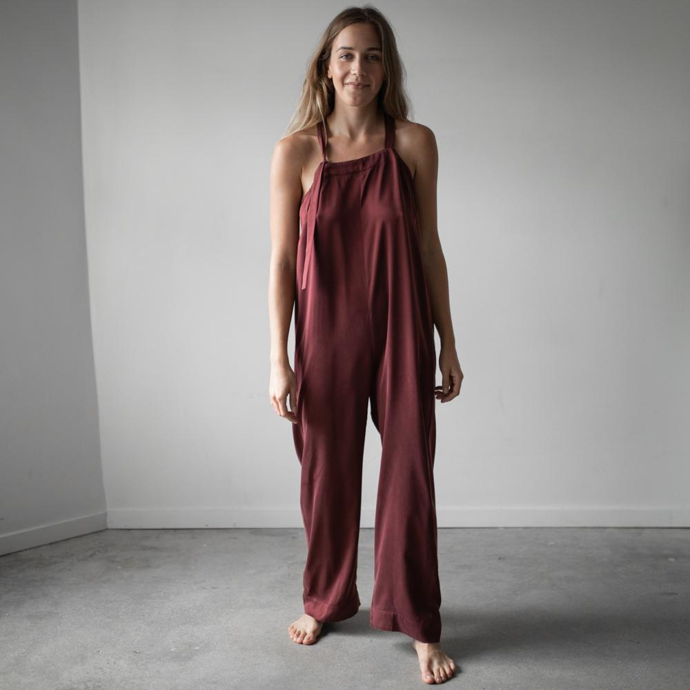 Lunya Sleepwear Washable Silk Jumpsuit- #Port