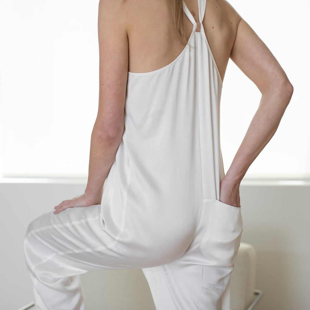 Lunya Sleepwear Washable Silk Jumpsuit- #Washed Starlight