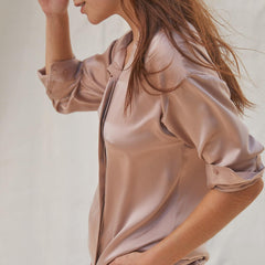 Lunya Sleepwear Washable Silk Long Sleeve Set - #Otium Tan
