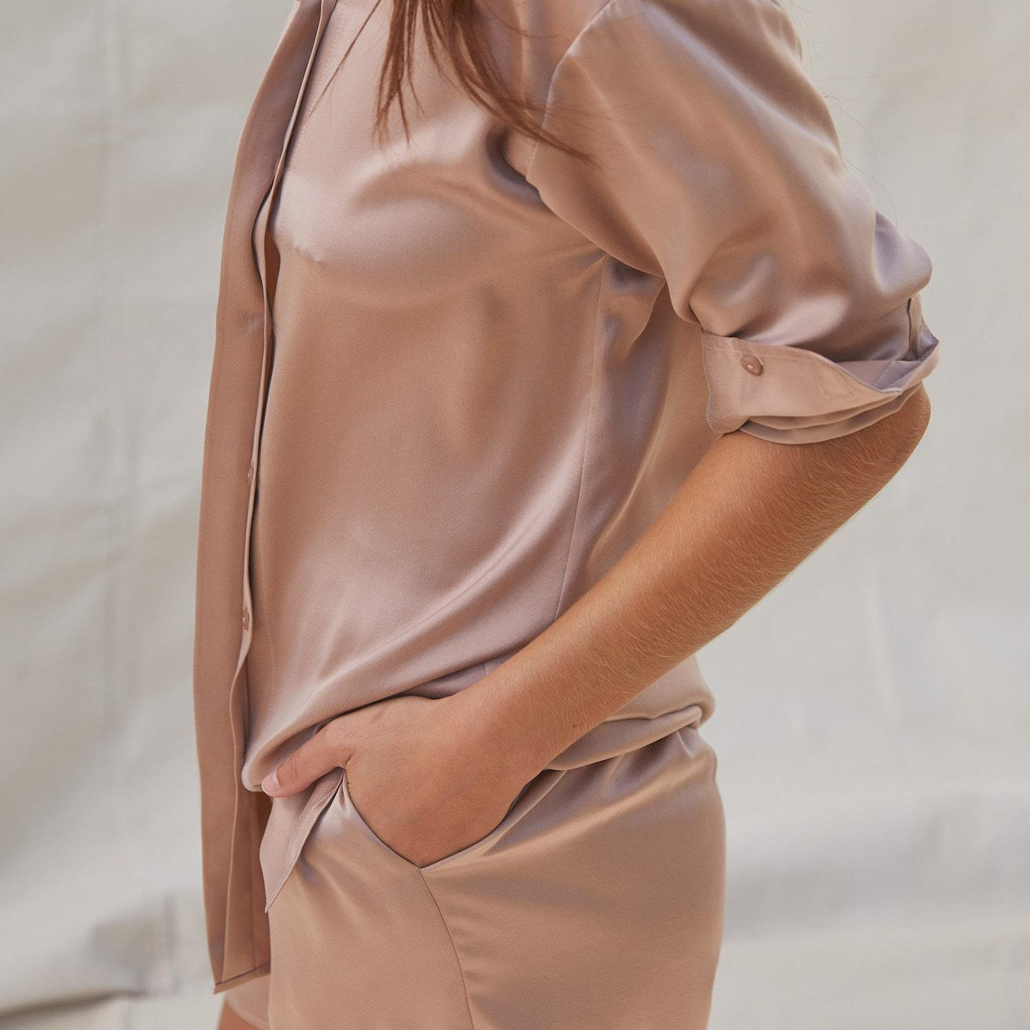 Lunya Sleepwear Washable Silk Long Sleeve Set - #Bare/Otium Tan