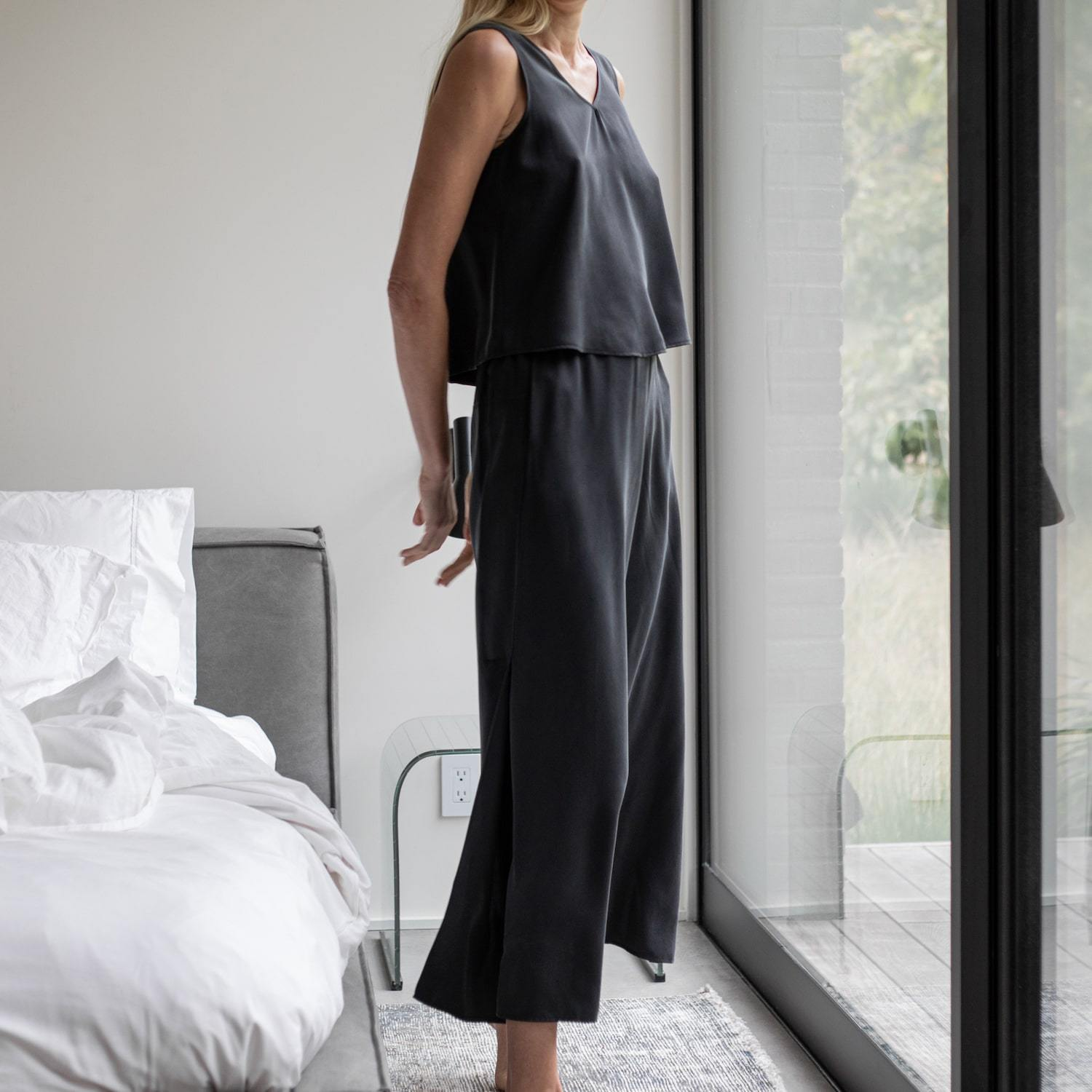 Lunya Sleepwear Washable Silk Pant Set - #Black