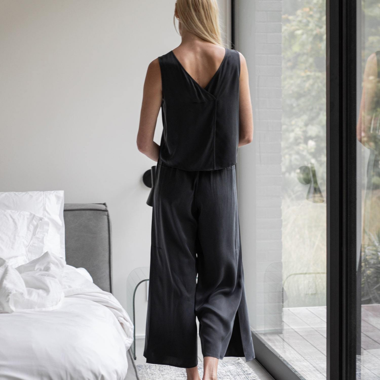 Lunya Sleepwear Washable Silk Pant Set - #Washed Black