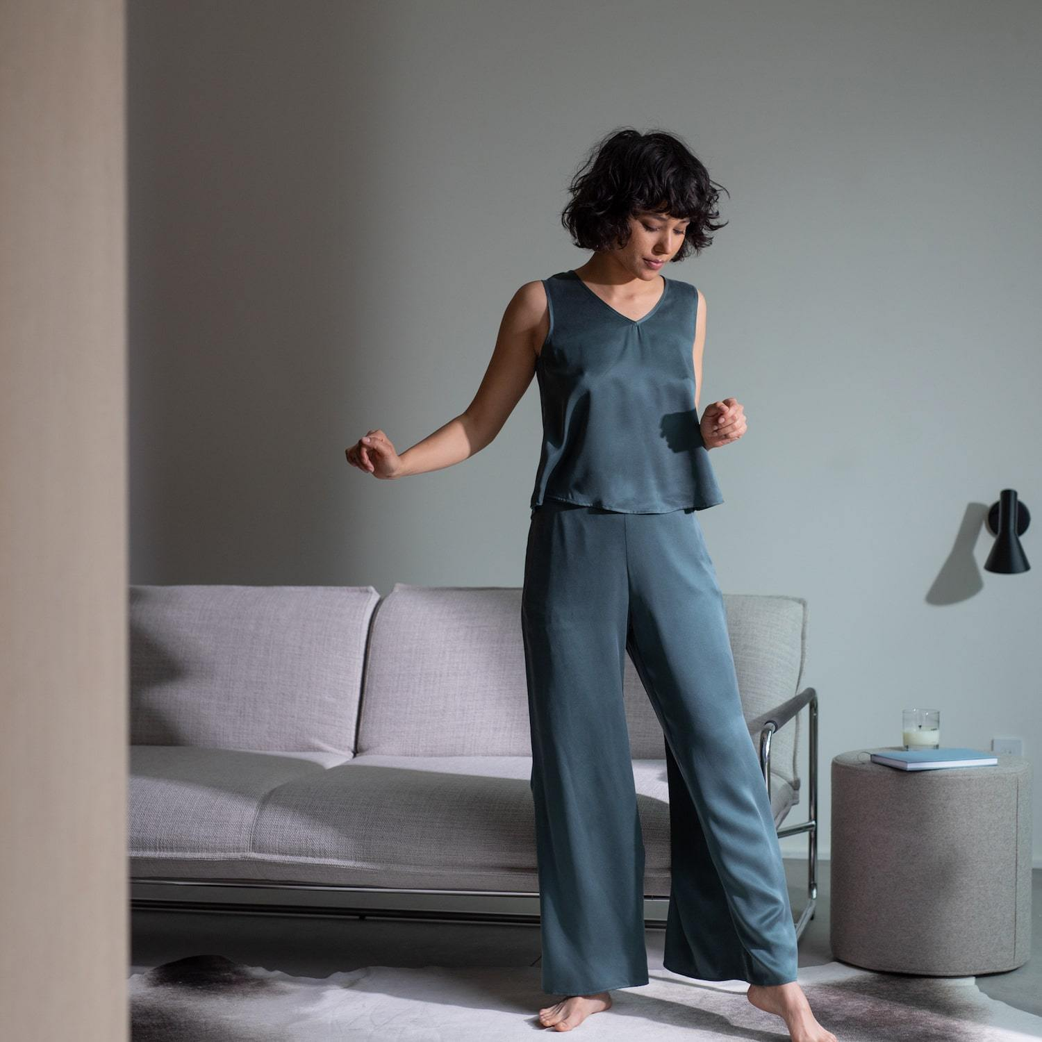Lunya Sleepwear Washable Silk Pant Set - #Juniper