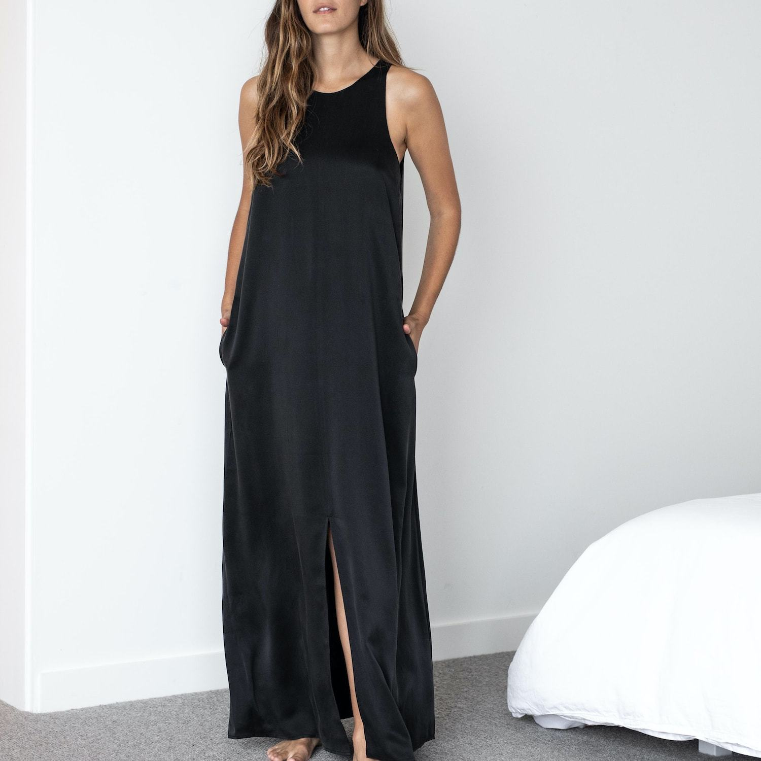 Lunya Sleepwear Washable Silk Racer Dress - #Black