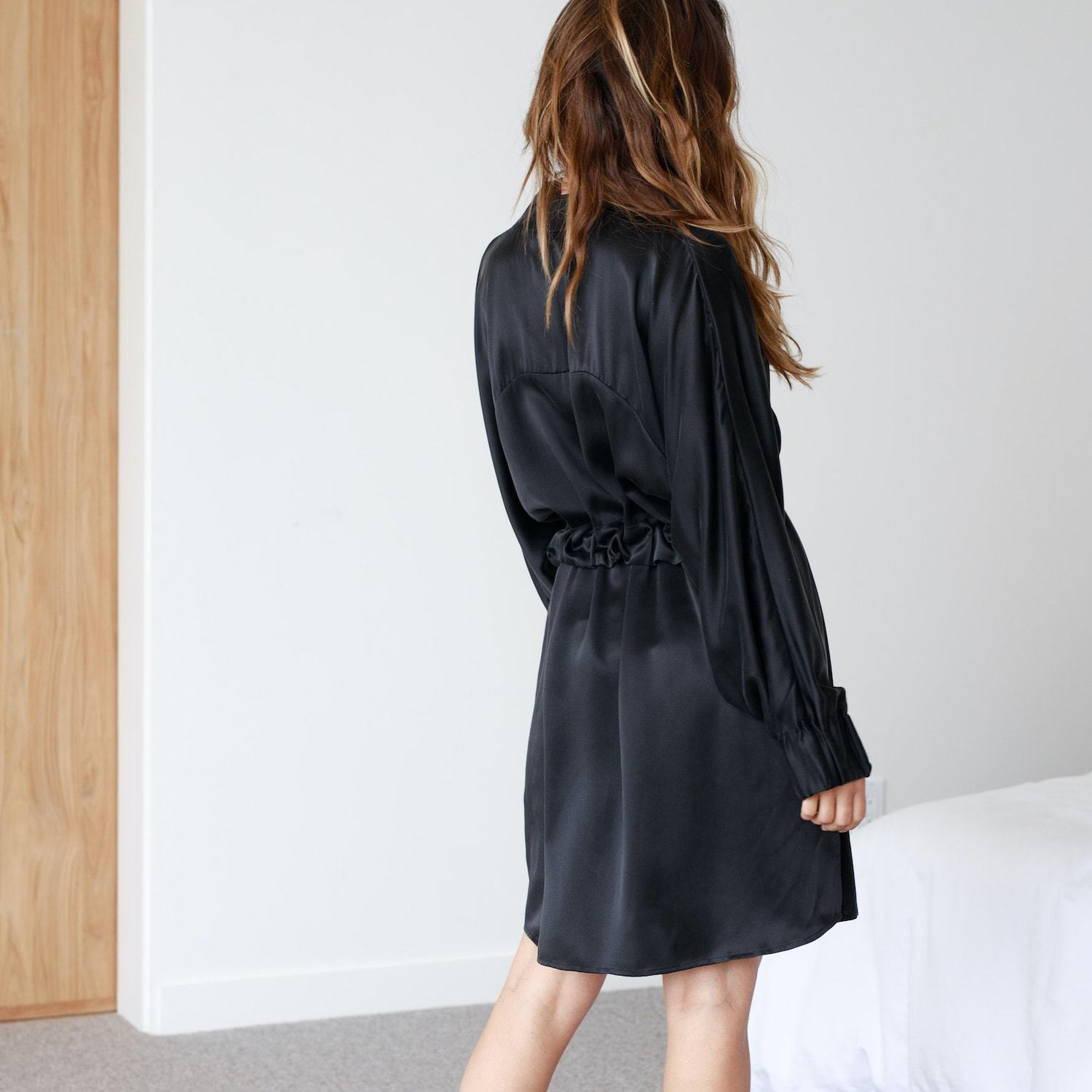 Lunya Sleepwear Washable Silk Robe - #Black